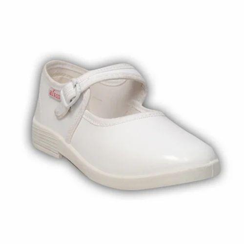 Afson White Girls Plain School Shoes