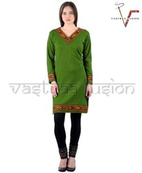 Ladies Regular Wear  Woolen Kurti - Green Colour
