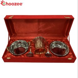 Choozee - Copper/Stainless Steel Handi, Bucket and Kadhai Set with Serving Spoon Round (6 Pcs)