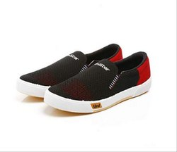 Mens Black Red Sneaker Canvas Shoes