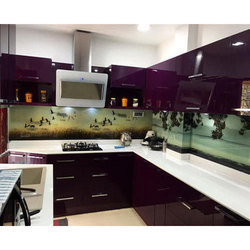 Furniture Pride L Shape Acrylic Modular Kitchen, For Home