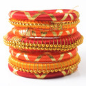 Pink and Orange Lahriya Silk Thread Bangle