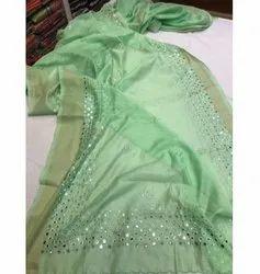Mirrorwork Linen Sarees