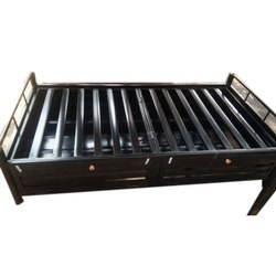 3*6 Feet Black Mild Steel Single Box Bed