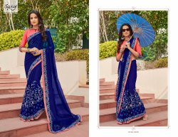 Blue Fancy Elegant Designer Saree