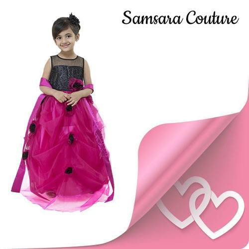 988748997 Satin Also Available In Velvet And Chiffon Party Wear Baby Gown, Rs ...