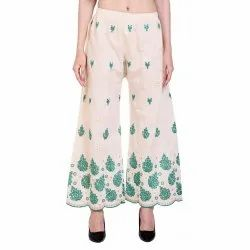 Ladies Chikan Green Embroidery Palazzo