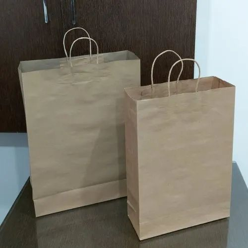 Handled Brown Kraft Paper Carry Bags, For Shopping