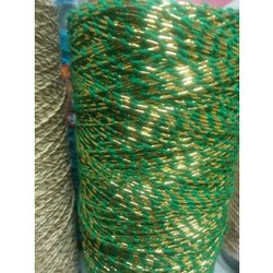 Green, Golden Zig Zag Embroidery Polyester Zari Thread
