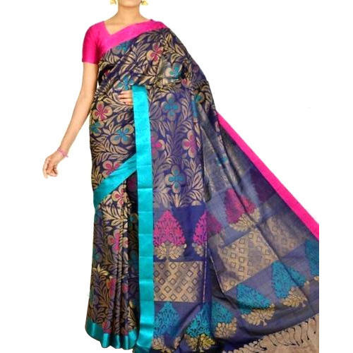 Multicolor Kora Cotton Ladies Banarasi Saree