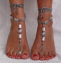 Screen Land Silver Barefoot Sandles