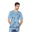 Fashionable Blue Striped Round Neck T-Shirt