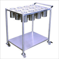 Steel Finish Stainless Steel Masala Trolley, Size: 36X30X34, For Ingredients