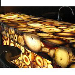 Agate Stone Yellowish Backlit Agate Counter Top