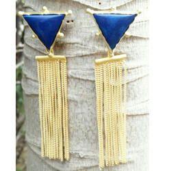 Hanging Golden Triangle Shape Tassel Earrings In Brass