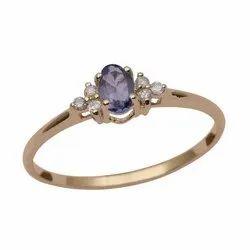9k Yellow Fine Gold Tanzanite Oval Cut Diamond Women Solitaire Accents Ring