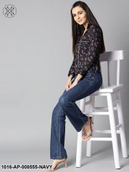 Navy Blue Front Placket Printed Top With Notched Collar & Full Sleeve