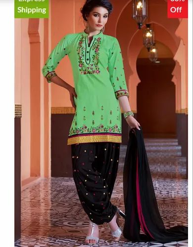 25f65f951c Bhelpuri Pista Green Cotton Patiyala Style Dress Material with Bottom and  Dupatta