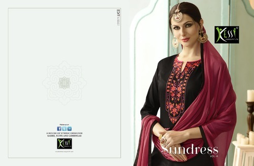 Black And Maroon Cotton Embroidery Salwar Suit