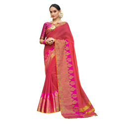 Pink & Yellow Colored Festive Wear Cotton Silk Saree