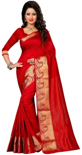 5855bfbe929c17 Maroon Color Kanjivaram Cotton Silk Saree For Women, Rs 899 /piece ...
