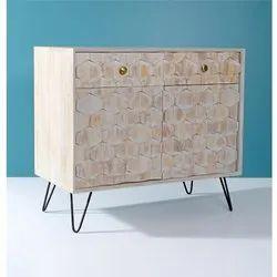 Wooden Iron Leg 2-Door Accent Cabinet