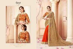 Orange And Golden Plain Saroj Golden And Orange Women Saree