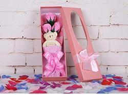 Girl Assorted Roses Flower Bouquet Box With Cute Teddy Bear