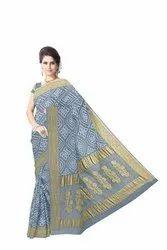 All Over Grey Color Fancy Design  Banarasi Georgette Saree