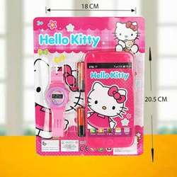 Pink Baby Girl Hellow kitty, Barbie and Princes Watch with Mobile Gift Set