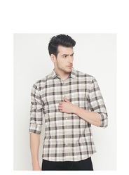 Beige Cotton Checked Slim Fit Casual Shirt