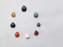 Nine 9 Gems Navratna Navagraha Zodiac Birthstone Pear Shape Calibrated Cabochons Loose Gemstone