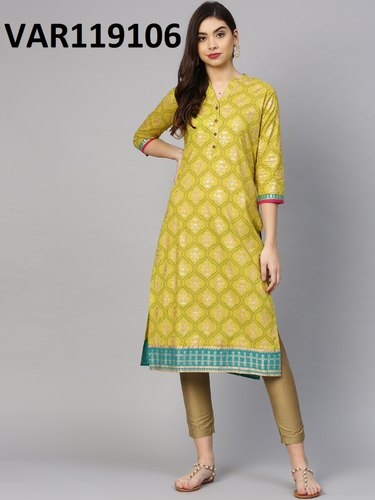 Yellow Digital Printed Cotton Printing Kurtis, Size: M