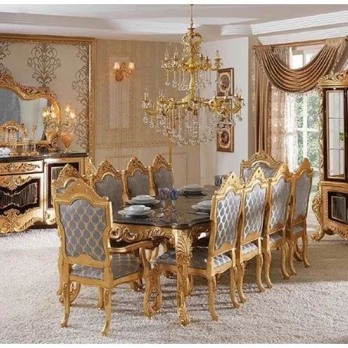 Acme Golden Gold Leaf 8 Seater Dining Table Size Dimension 7x4 For Home Rs 375000 Set Id 20652858188