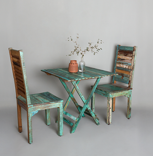blue and brown reclaimed wood artisans rose make or break folding
