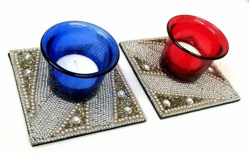 Set Of 2 Designer Colourful Glass Candle Tea Light Holder Blue And Red Diwali Decorative Diya At Rs 359 Pair T Light Candle Holder Id 20832412048