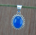 925 Sterling Silver Jewelry Blue Chalcedony Gemstone Pendant