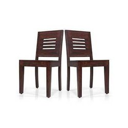 Teak Wood Vintage Dining Chair Set Of Two, Size: Standard