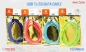 Mix Colour Tp Troops Usb To S3 3mtr Data Cable
