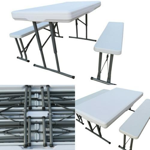White Mild Steel and HDPE Folding Table, Dimensions: 113 x 68 x 47 cm
