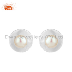 850e400f3 DWS White Rhodium Plated Silver Pearl Gemstone Stud Earrings Jewelry
