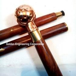 Maritime Nautical Wooden Walking Stick Cane With Polished Solid Brass Telescope Ra134 Other Maritime Antiques