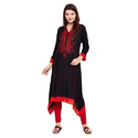 Ladies Rayon Embroidered Black Long Kurti