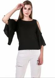 Black Solid Crepe Top