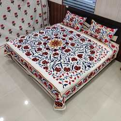 Suzani Embroidered Designer Cotton Bedsheet