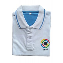 Cotton ISSF White Unisex Half Sleeve T-Shirt