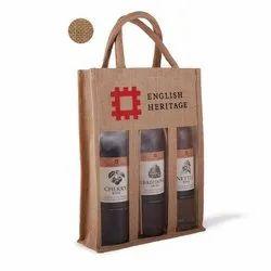 Three Bottle Jute Wine Bag
