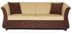 Adorn India Acura 3 Seater Sofa(Brown & Beige)
