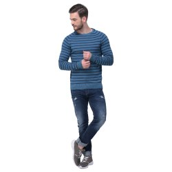 Cotton Round Neck Men's Striped Sweater, Size: S - Xl