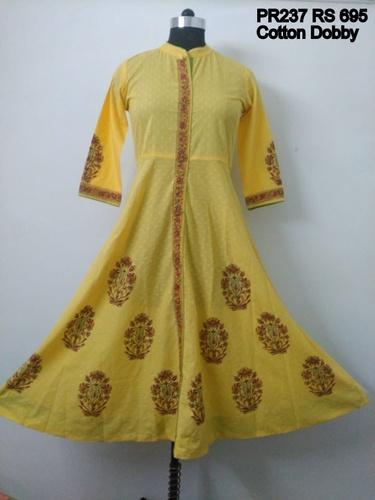Prakhya Cotton Circular Type Block Printed Yellow Kurti